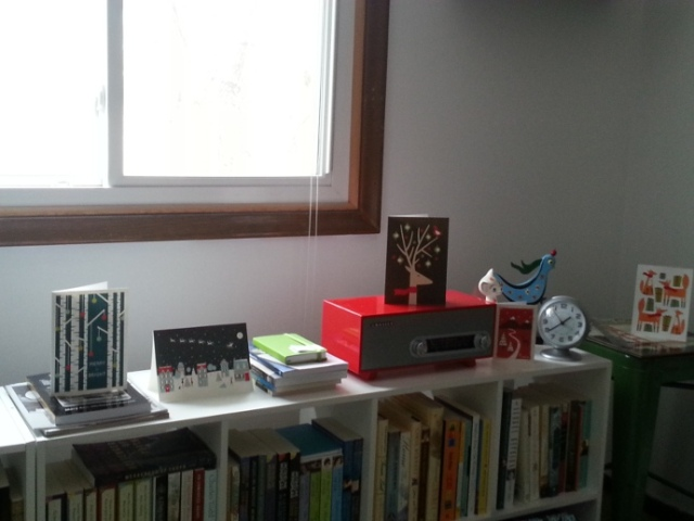 I placed cards all over the house. Putting away the decorations this year will be a bit like an Easter egg hunt.