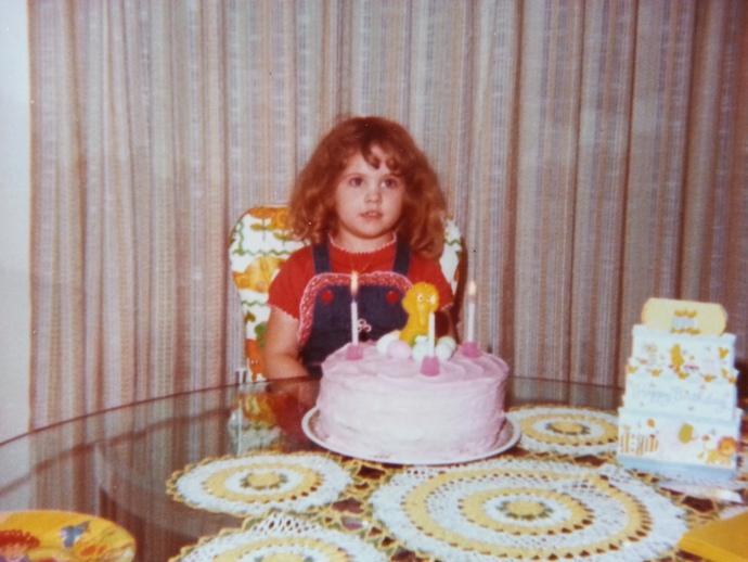 My favorite birthday cake ever. My mom baked it for my third birthday. The candy eggs that made Big Bird's nest were malted milk!