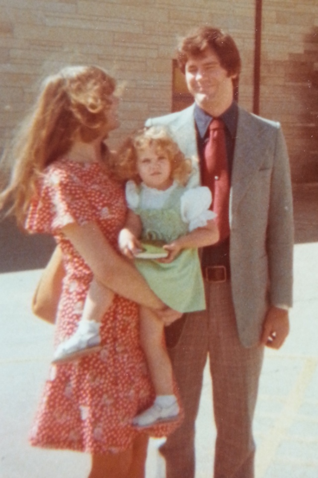 My parents and I outside church. I absolutely love that dress my mom is wearing. And my dad sure knew how to style in a pair of plaid pants. I have a lot of photographic proof his love of plaid pants. A lot of photographic proof.