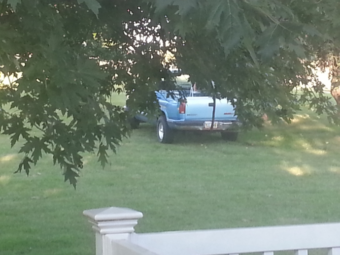 Public Enemy Number One at work. If you look close, you can see the stepladder in the bed of the truck.