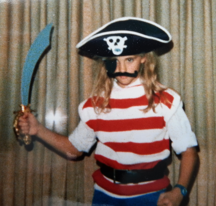 Aaaargh! I'm a mean pirate, because I'm clenching my fist and I have a band-aid on my elbow. I'm rough and tumble!!