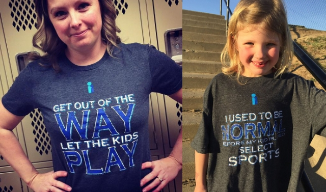 Heidi and her daughter in Give The Game Back t-shirts.
