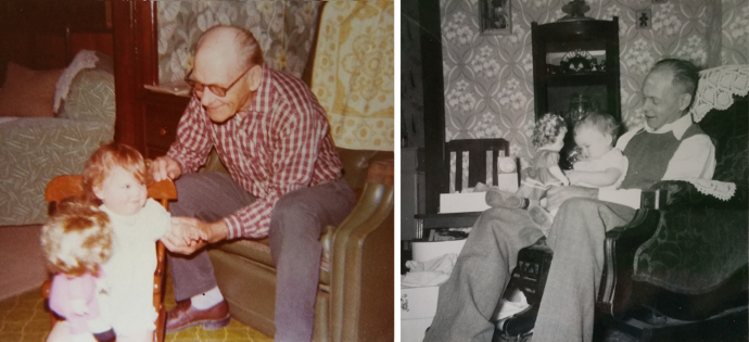 These photos are near carbon copies taken 23 years apart. On the right is my great grandpa in a chair holding his granddaughter (my mom) on his lap, looking on while she holds her doll. On the left is my great grandpa in a similar chair, looking on while his great granddaughter (me) holds her doll. I love these photos beyond words.