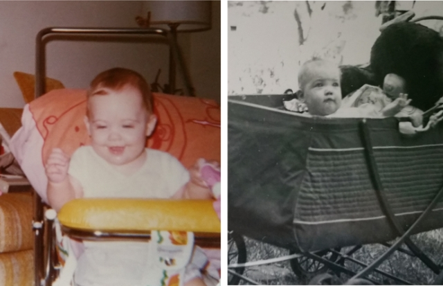 Me and Mom as babies in our strollers.