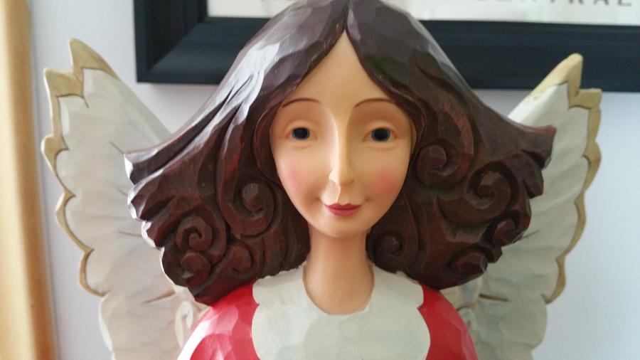 wood carved angel head